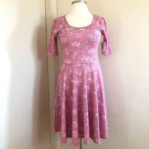LulaRoe Nicole Floral Coral Pink Light Blue Dress